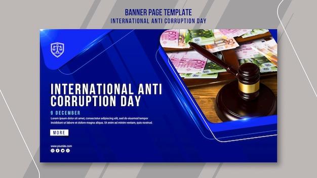 Modèle de bannière de jour anti-corruption