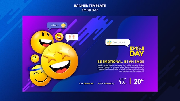 Modèle de bannière de jour emoji