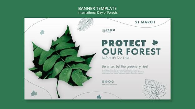 Modèle de bannière de jour des forêts avec photo
