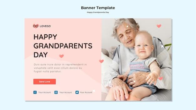 Modèle de bannière de jour de grands-parents heureux