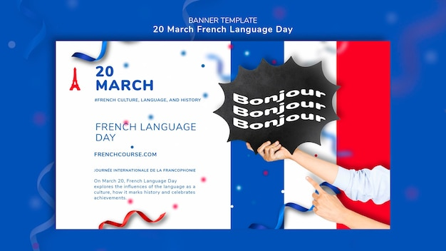 Modèle De Bannière De Jour De Langue Française Psd gratuit