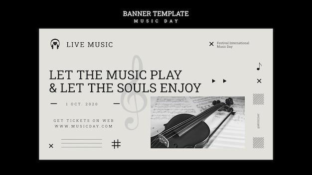 Modèle de bannière de jour de musique