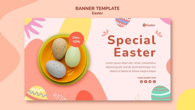 Modèle de bannière de jour de pâques pastel