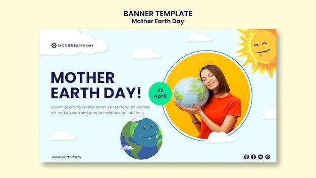 Modèle de bannière de jour de la terre mère