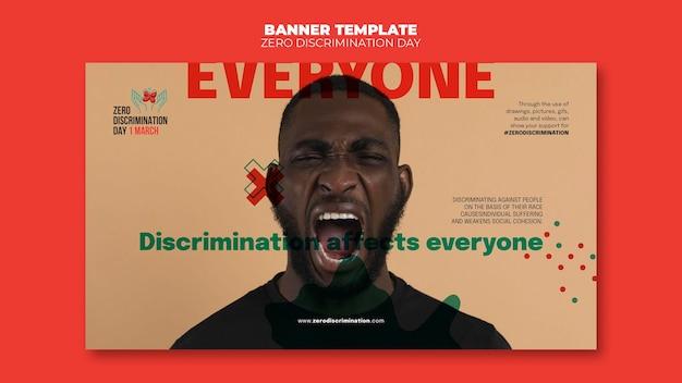 Modèle de bannière de jour zéro discrimination avec photo