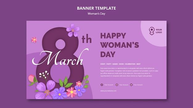 Modèle de bannière de la journée de la femme du 8 mars