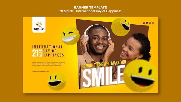 Modèle de bannière de la journée internationale du bonheur avec photo