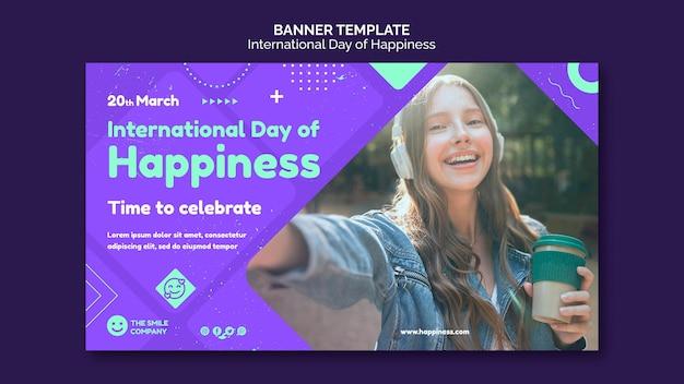 Modèle de bannière de la journée internationale du bonheur
