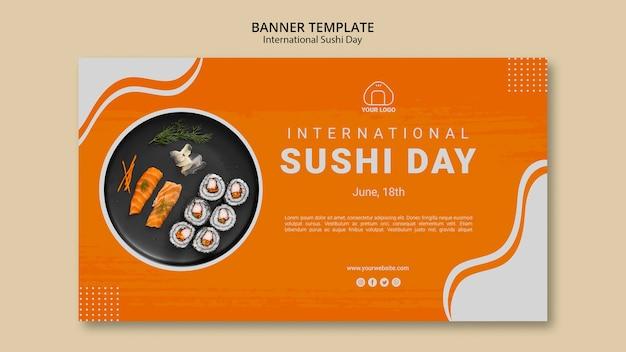 Modèle de bannière de la journée internationale du sushi