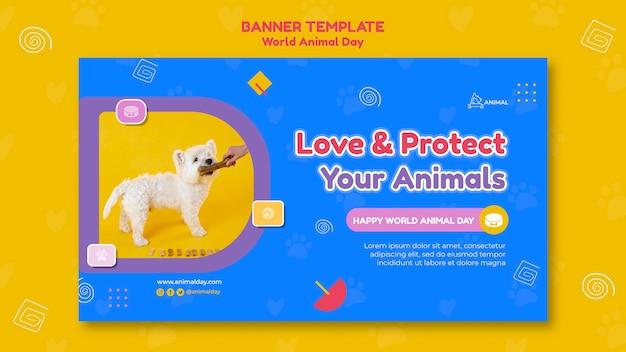 Modèle de bannière de la journée mondiale des animaux