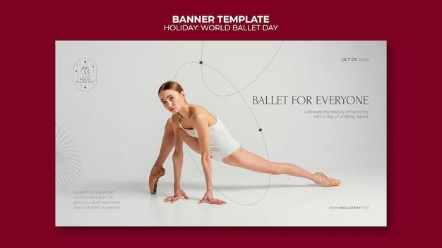 Modèle de bannière de la journée mondiale du ballet