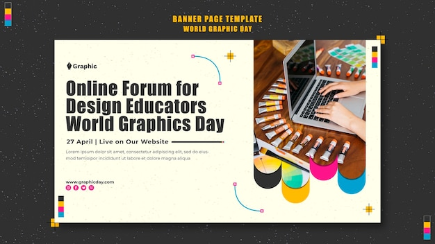 Modèle de bannière de la journée mondiale du graphisme