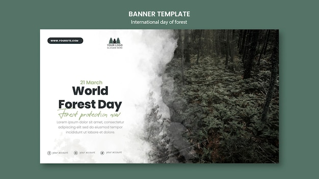 Modèle De Bannière De La Journée Mondiale De La Forêt Psd gratuit