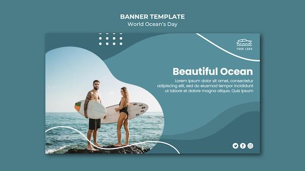 Modèle de bannière de la journée mondiale de l'océan