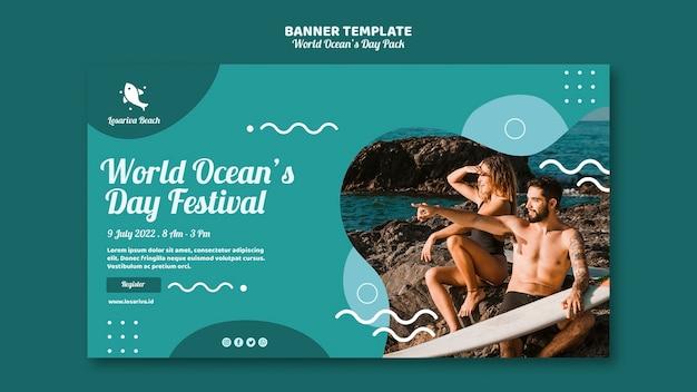 Modèle de bannière avec la journée mondiale des océans