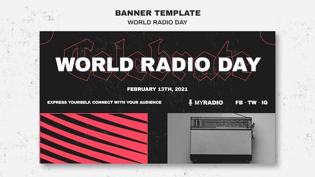 Modèle de bannière de la journée mondiale de la radio