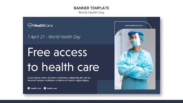 Modèle de bannière de la journée mondiale de la santé avec photo