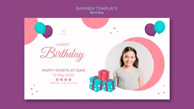 Modèle de bannière de joyeux anniversaire jeune fille