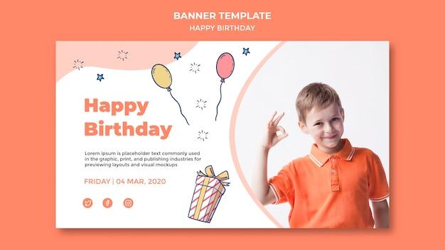 Modèle de bannière de joyeux anniversaire