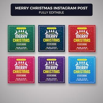 Modèle de bannière joyeux noël médias sociaux post