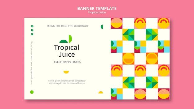 Modèle de bannière de jus tropical