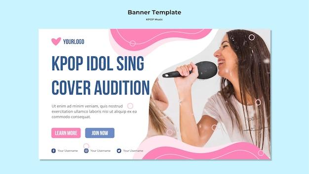 Modèle de bannière k-pop avec photo de fille chantant
