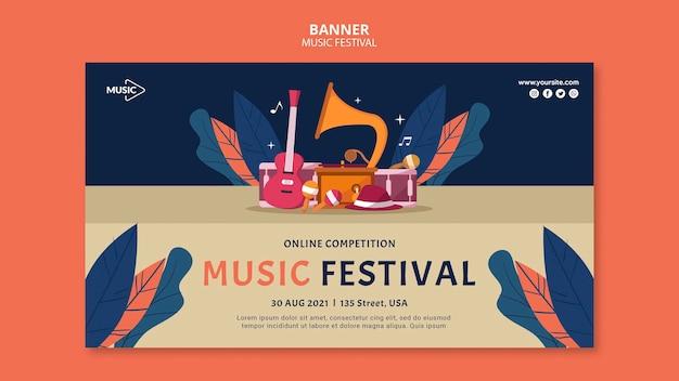 Modèle de bannière en ligne de festival de musique