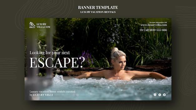 Modèle de bannière de location de vacances de luxe
