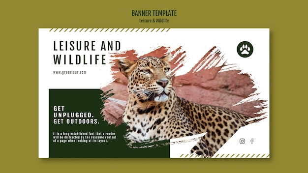 Modèle de bannière de loisirs et de la faune