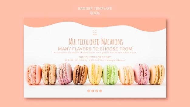 Modèle de bannière avec macarons