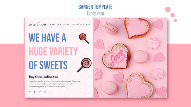 Modèle de bannière de magasin de bonbons avec photo