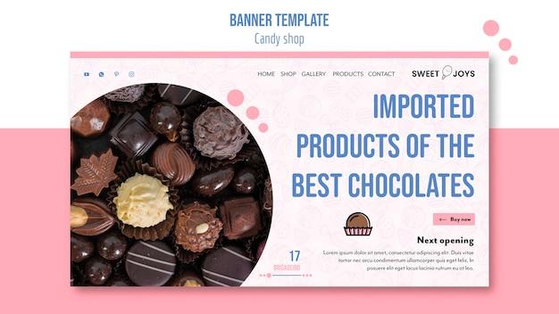 Modèle De Bannière De Magasin De Bonbons Psd gratuit