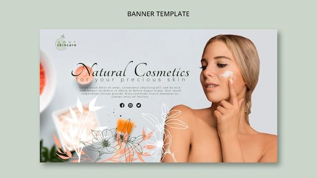 Modèle de bannière de magasin de cosmétiques naturels