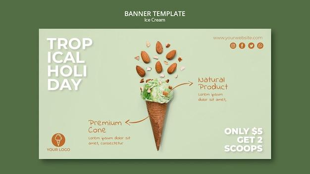 Modèle de bannière de magasin de crème glacée