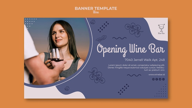 Modèle de bannière de magasin de vin de bannière