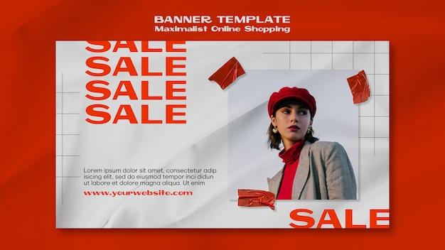 Modèle de bannière de magasinage en ligne minimaliste