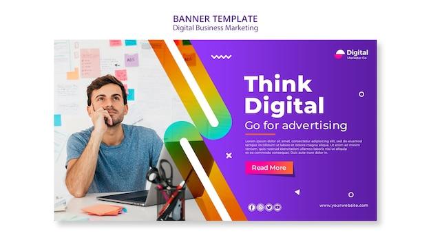 Modèle de bannière de marketing d'entreprise numérique