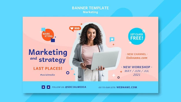 Modèle de bannière marketing avec photo