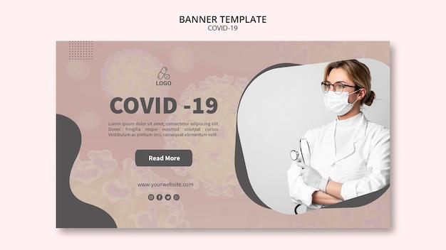 Modèle de bannière de masque covid-19 de médecin