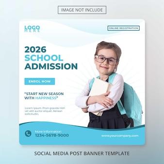 Modèle de bannière de médias sociaux admission à l'école modèle de retour à l'école psd