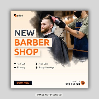 Modèle de bannière de médias sociaux barber shop