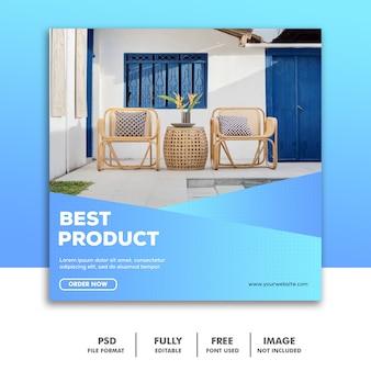 Modèle de bannière de médias sociaux, décoration de mobilier élégant