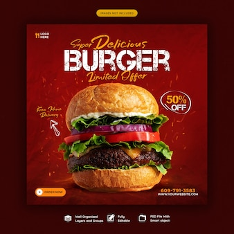 Modèle de bannière de médias sociaux délicieux menu burger et nourriture