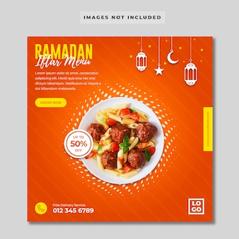 Modèle de bannière de médias sociaux du menu ramadan iftar