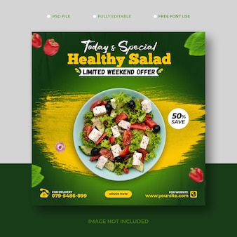 Modèle de bannière de médias sociaux facebook de promotion de recettes d'aliments sains