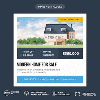 Modèle de bannière de médias sociaux immobiliers