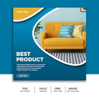 Modèle de bannière de médias sociaux instagram, meilleur produit de meubles bleu