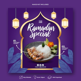 Modèle de bannière de médias sociaux instagram menu spécial ramadan