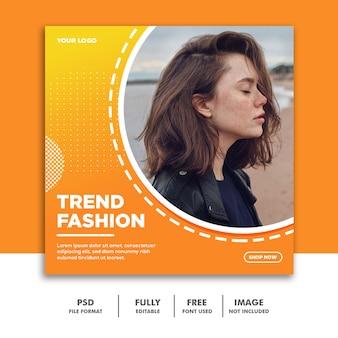 Modèle de bannière de médias sociaux instagram, mode femme orange