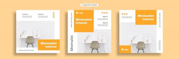 Modèle de bannière de médias sociaux intérieur minimaliste ou collection de flyers carrés